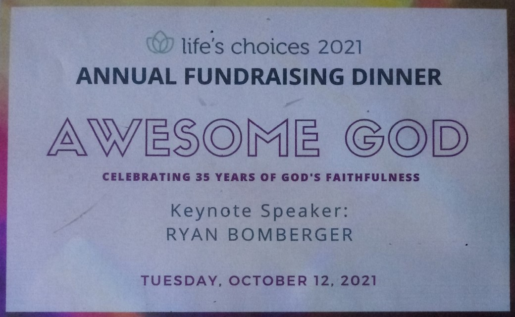 lifes choices fundraiser banquet postcard front tuesday october 12 2021
